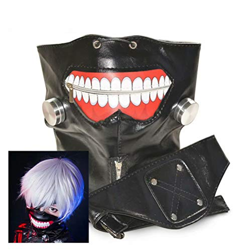 COSPLAZA Unisex verstellbarer Reißverschluss schwarz PU Leder Ghost Mask, Silber Cosplay Perücken (1 Perücke, 1 Maske) Ghost Leder