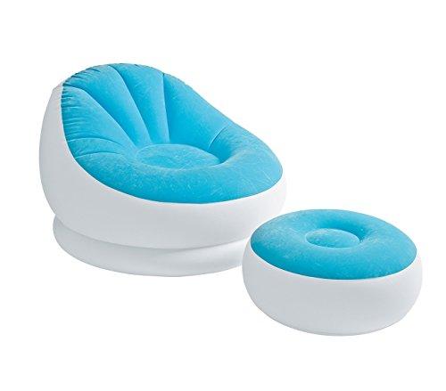 Intex 68572 poltrona relax gonfiabile colore celeste con poggiapiedi tessuto floccato. mws