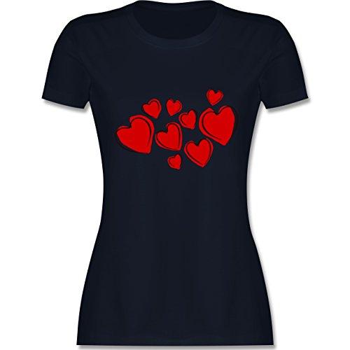 Romantisch - Herzen - tailliertes Premium T-Shirt mit Rundhalsausschnitt für Damen Navy Blau