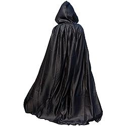 Lomire Disfraz de Halloween Poncho Unisex, Capa de Vampiro con Capucha Larga Articulos Decoracion Bruja Cosplay Terror para Fiesta Halloween para Mujer Hombre Adultos