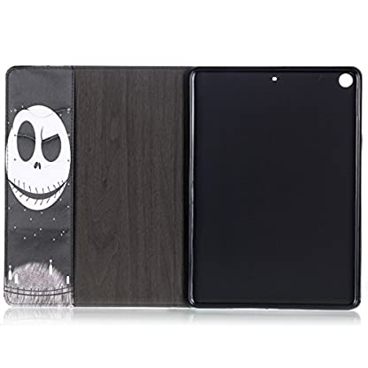Ekakashop ipad 2017 9.7 Stand Case, ipad 2017 Cover Leather Retro, Fashion Colorful Painting Design Ultra Slim-Fit Flip PU Leather Book style Wallet Magnetic Built-in Stand Shockproof Full Protection Case Cover with Retina Display for Apple New ipad 2017 9.7 with 1*kickstand (color random), Skull 5