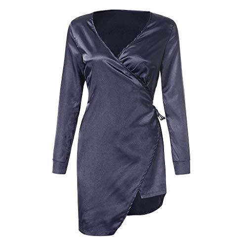 Dtuta MorgenmäNtel Damen Edel Simulation Seide Sexy GüRtel UnregelmäßIge RöCke Robe Langen Rock V-Ausschnitt Pyjama Set (Günstige Roben Seide Damen)