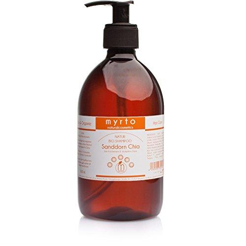 myrto-naturalcosmetics - Bio Shampoo Sanddorn Chia mild | für mehr Glanz und gesunde Kopfhaut ✔ gegen Spliss ✔ ohne Sulfate und Silikone ✔ ohne Alkohol ✔ vegan ✔ handgefertigt - 500 ml