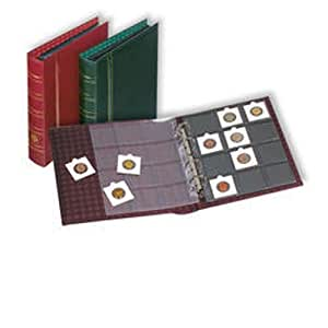 Leuchtturm Album cadres pièces de monnaie OPTIMA, design classique +10 Pochettes transparentes, rouge