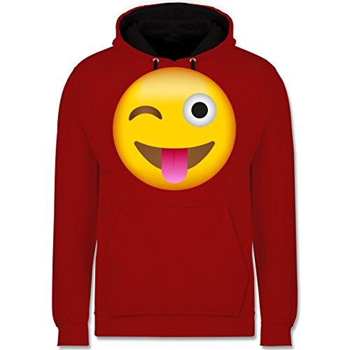 Comic Shirts - Emoji herausgestreckte Zunge - Kontrast Hoodie Rot/Schwarz