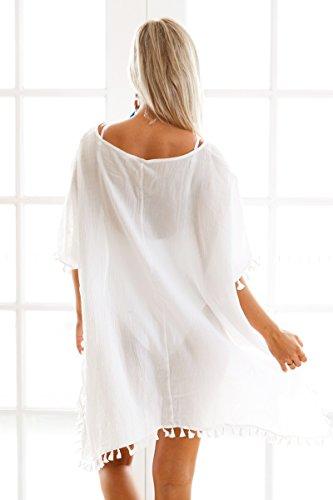 Yiyada Damen Sommer Strandkleid Minikleid Oberteile Neckholder Cover Up Frauen Sommerkleid Partykleid Beachwear Bademode Pareos Strandkleider Weiß
