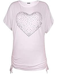 Womens Plus Size Heart Studs Ladies Side Tie Batwing Long Baggy T-Shirt Top