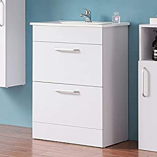 Aica 600mm Vanity Unit with in-set Basin Sink, White Bathroom 2 Drawers Storage, Floor Standing Cabinet Furniture