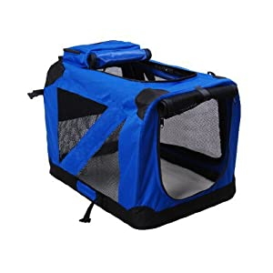 BUNNY-BUSINESS-Folding-Fabric-Dog-Crate-Pet-Carrier-with-Free-Fleece-Extra-Large-32-inch-Blue