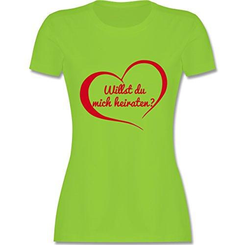 Valentinstag - Willst du mich heiraten? Herz - tailliertes Premium T-Shirt mit Rundhalsausschnitt für Damen Hellgrün