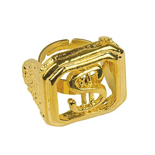 König Kostüm Dollar - Goldener Dollar Ring - Schmuck für König, Rapper oder Hippie Kostüm