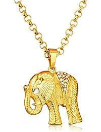 LUXUSTEEL - Collar con Colgante de Elefante Chapado en Oro Amarillo con circonita cúbica AAA Brillante