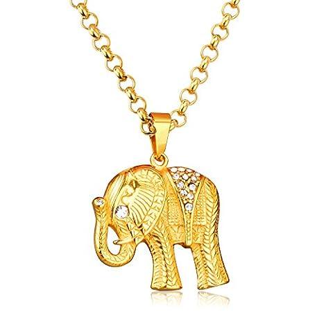 LUXUSTEEL Man/Woman Yellow Gold Plated Elephant Pendant Necklace with AAA Shining Cubic Zirconia
