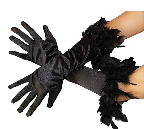 narrenkiste B030122 schwarz Damen Satin Handschuhe lang mit Federrand