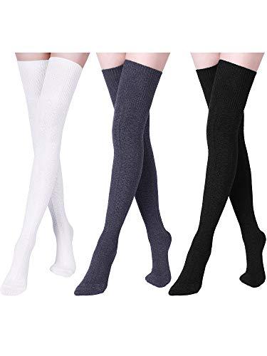 3 Paar Damen Extra Lange Baumwoll Socken Oberschenkel Hohe Socken Über Knie Boot Socken für Damen Mädchen Winter (Schwarz, Weiß, Grau)