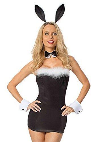 Playboy Kostüme (5 Stück Sexy Playboy-Bunny Qualität Kostüm Kleid Ohren Manschetten Kragen Größe)