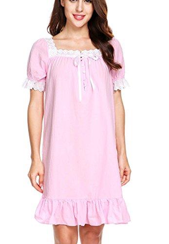 AIMADO Damen Mädchen Romantisches Nachthemd kurzarm Vintage 100% Baumwolle mit Rüschen Nachtwäsche Schlafanzug