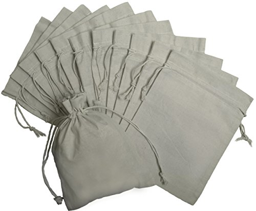 100 Prozent Baumwolle Beutel Mit Kordelzug, Stoffsack Mit Band Zum Zuziehen - Organisch Und Natürlich - (22x30, Weiss) (Hobo Handtasche Logo)