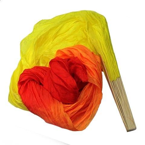 1.8m Long Eventail Fan de Danse Oriental Danseur Bamboo Voile Jaune Orange Rouge