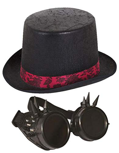 Labreeze Aged Look Top Hat + Black Frame Goggles with Spikes Steam Punk Party Set