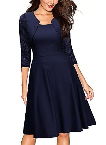 Miusol Damen Abendkleid Elegant Cocktailkleid Vintage Kleider 3/4 Arm mit Spitzen Knielang Party Kleid Navy Blau