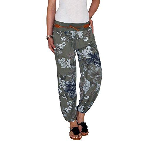 DB Damen Sommerhose mit Blumenmuster in schwarz, beige, taupe, weiß, blau und khaki (One Size, Khaki)