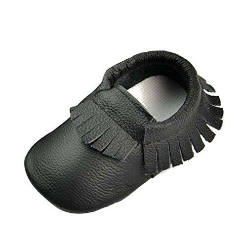 SMITHROAD Baby Mädchen Baby Jungen Unisex Lauflernschuhe Moccasin Krabbelschuhe Hausschuhe mit Troddel Echtes Leder 0-24 Monate Schwarz