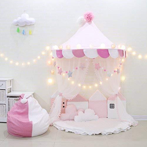 HB.YE Baby Bettvolants Bettwäsche Himmel Kleines Zelt Nestchen Bettset Babybett Bettmatratze Moskitonetz Prinzessin Mädchen Spielzimmer Dekoration (Rosa, Groß)