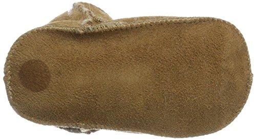 Melton Lammswollschühchen MIT Klettverschluss, Pantofole Unisex - Bimbi 0-24 Beige (Cammello )