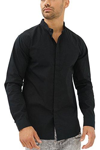 trueprodigy Casual Herren Marken Hemd einfarbig Basic, Oberteil cool und stylisch mit Stehkragen (Langarm & Slim Fit), Shirt für Männer in Farbe: Schwarz 2082106-2999-XL