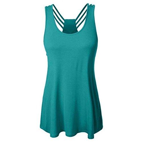 ESAILQ Damen Basic V-Ausschnitt Kurzarm T-Shirt Falten Tops mit Knopf(L,Minzgrün)