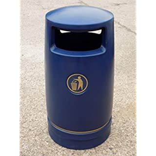 Advancedscape Hefton Large Capacity Plastic Outdoor Litter Bin Lockable - Street Waste Bin - BLUE - In Stock