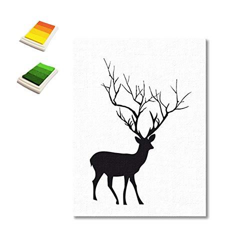 bdrsjdsb Elch-Art DIY Fingerabdruck-Segeltuch-Anstrich-Hochzeitsfest-Unterzeichnungs-Gast-Buch-Wand-Dekor -