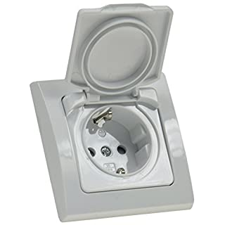 DELPHI Schutzkontakt-Steckdose mit Klapp Deckel IP44 inkl. Rahmen 230V UP weiß