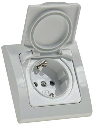 DELPHI Aussensteckdose mit Klapp-Deckel IP44 inkl. Rahmen 230V I Für Feuchträume und Aussenbereich I Weiß