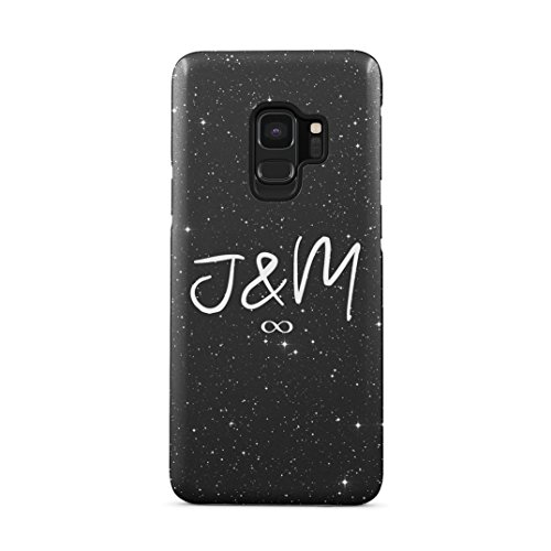 Couple Love Personalised Custom Text Letters Name Initialen Cosmic Galaxy Stars Space Moon Schutzhülle aus Hartplastik Handy Hülle Kompatibel mit Samsung Galaxy S9 Case Hard Cover (Personalisierte Love Letter)