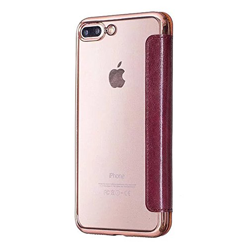 iPhone 7 Cover, iPhone 7 Custodia (4.7inch), Bonice Creativo [Shock-Absorption] [Anti Scratch] Premium Ultra Thin Portafoglio Trasparente Placcatura TPU Case Cover + PC Pelle Flip Case Cover - argento model 05