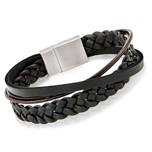COWstyle® Designer Herren-Lederarmband mit Gravur | aus Echtleder in schwarz mit Magnetverschluss aus Edelstahl | Länge 19 cm | Liverpool der Marke