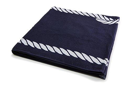 ZOLLNER hochwertiges Strandlaken / Strandtuch / Badetuch 100x200 cm marine-weiß, in weiteren Farben erhältlich, direkt vom Hotelwäschehersteller, Serie