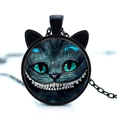 Halskette Katze Ohrschmuck Lächeln Katze Anhänger Glasbild Anhänger Schwarz