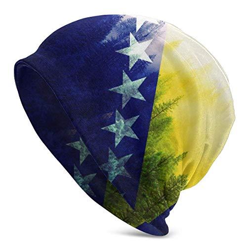 FairyLi Bosnien und Herzeegovina Flagge mit Wald Beanie Herren Damen - Privatsphäre Winter Sommer Warm Bündchen Uni Slouchy Totenkopf Tägliche Strick Mütze Kappe Schwarz
