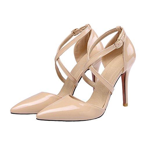 YE Damen Spitze Riemchen High Heels Stiletto Lackleder Pumps mit 10cm Absatz Party Elegant Kleid Schuhe Aprikose