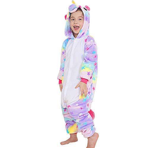4cd3010631 Yansion Bambini Unicorno Pigiama delle Onesie,Costumi Cosplay Felpa con  Cappuccio Sleepwear Flanella Unicorno Nightwear