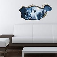 Dalinda® 3D Wandsticker 3D Optik Wolf Mond Wanddeko 3D Wandtattoo 3D  Wandbilder Wandgestaltung DS279