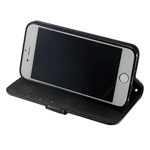 Coque iPhone 6, iPhone 6S Coque Portefeuille, SainCat Ultra Slim Flip Cover pour iPhone 6/6S, Bookstyle Etui en PU Cuir Coque Etui Cuir Anti-Scratch Cover Coque Cuir Coque Caoutchouc Étui Portefeuille Noir