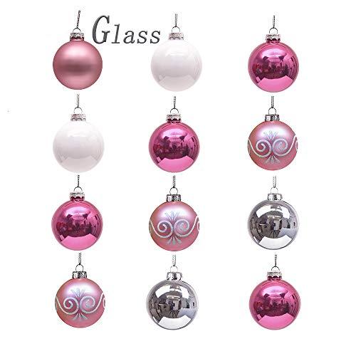 Valery madelyn palle di natale 6cm 12 pcs vetro palle rosa argento bianco lucido smerigliato ornamento di natale con pittura e gancio decorazioni albero di natale decorazione di natale