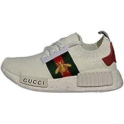 NMD R1 Gucci Primeknit White Running Shoes Scarpe da Corsa Uomo Donna