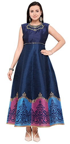 Globalia Creation Women's Heavy Work Blue Bengalori Semi-Stitched Gown (Gown_Multicolor_Free Size)