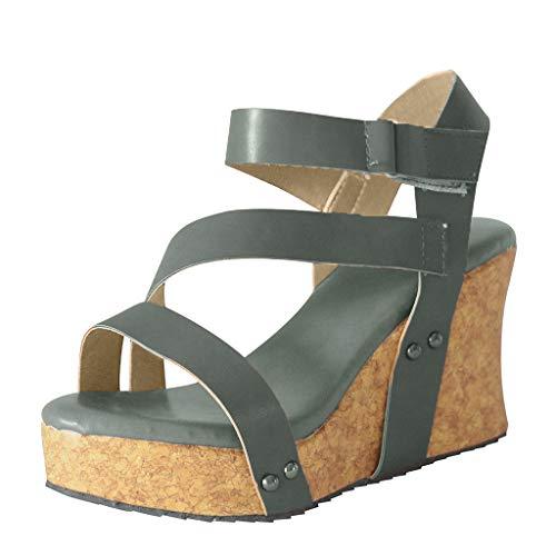 QUINTRA_GSS Wedges Sandalen für Damen Retro Open Toe Wedges Schuhe Leder Plattform römischen Sandalen Patent Open Toe Plattform