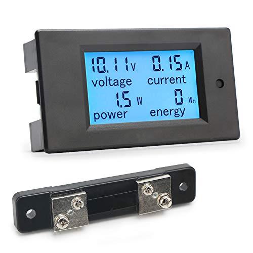 Droking Digital-Multimeter DC 6.5-100V 50A Spannung Stromstärke Energiezähler DC Volt Ampere Test Gauge Monitor LCD Blau Hintergrundbeleuchtung Digitalanzeige mit 50A/75mV Externer Shunt Dc Amp Meter